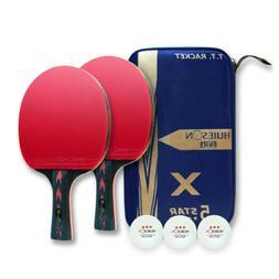 1 Pair 5-Star Table Tennis Racket Ping Pong Paddle Bat+3pcs