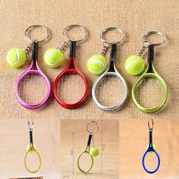 10Pcs Colorful Mini Key Chains Tennis Racket Ball Charm Keyc
