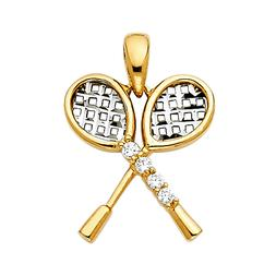 14K Real Solid Two Tone Tennis Racket Pendant For Women Men