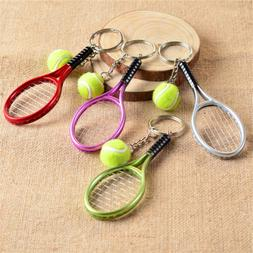 1Piece Fashion Small Metal Accessory Mini Tennis Racket Key