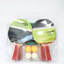 Weston 3 Star 4 Player Racket With Net and Posts 4 Balls Tab
