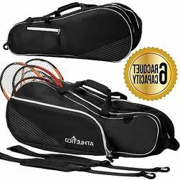 Athletico 6 Racquet Tennis Bag | Padded to Protect Rackets &