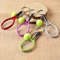 Charm Metal Keyring Mini Sport Tennis Racket Ball Keychain V