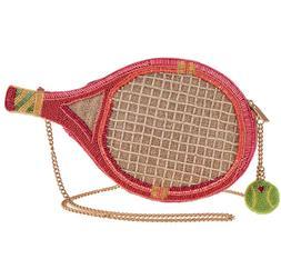 Mary Frances Courtside Beaded Tennis Racket Crossbody Handba