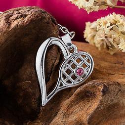 Crystal Tennis Racket Charm Necklace Men Sports Women Heart