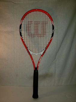 Wilson Federer Adult Strung Tennis Racket, Orange/Black/Whit