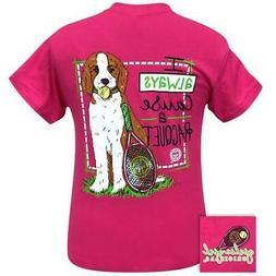 Girlie Girl Originals Preppy Racquet Tennis Dog T-Shirt