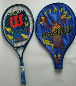 "Wilson Kids Tennis Racket Rak Attack Youth W/ Cover 4"" Gri"