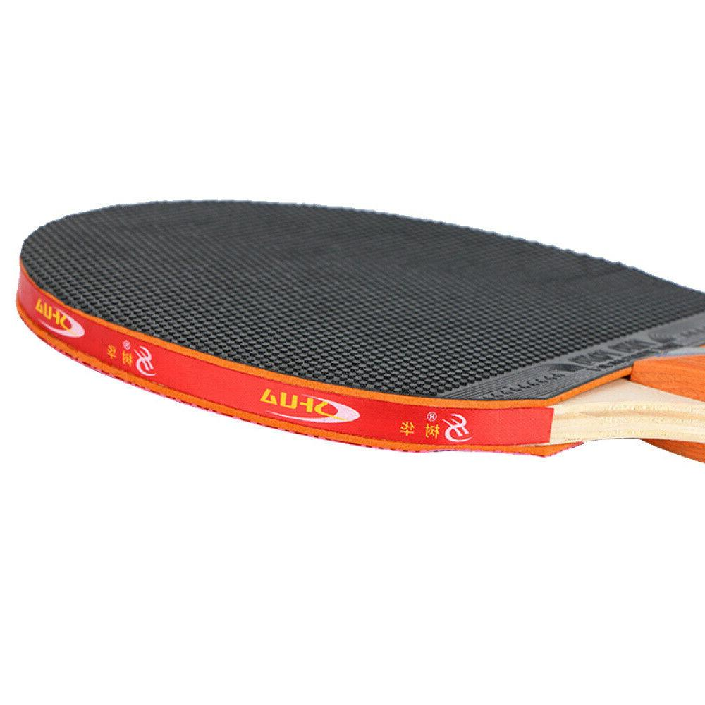 Table Tennis Racket Set Ping Pong Paddle Bat + Balls + Bag 1Pair