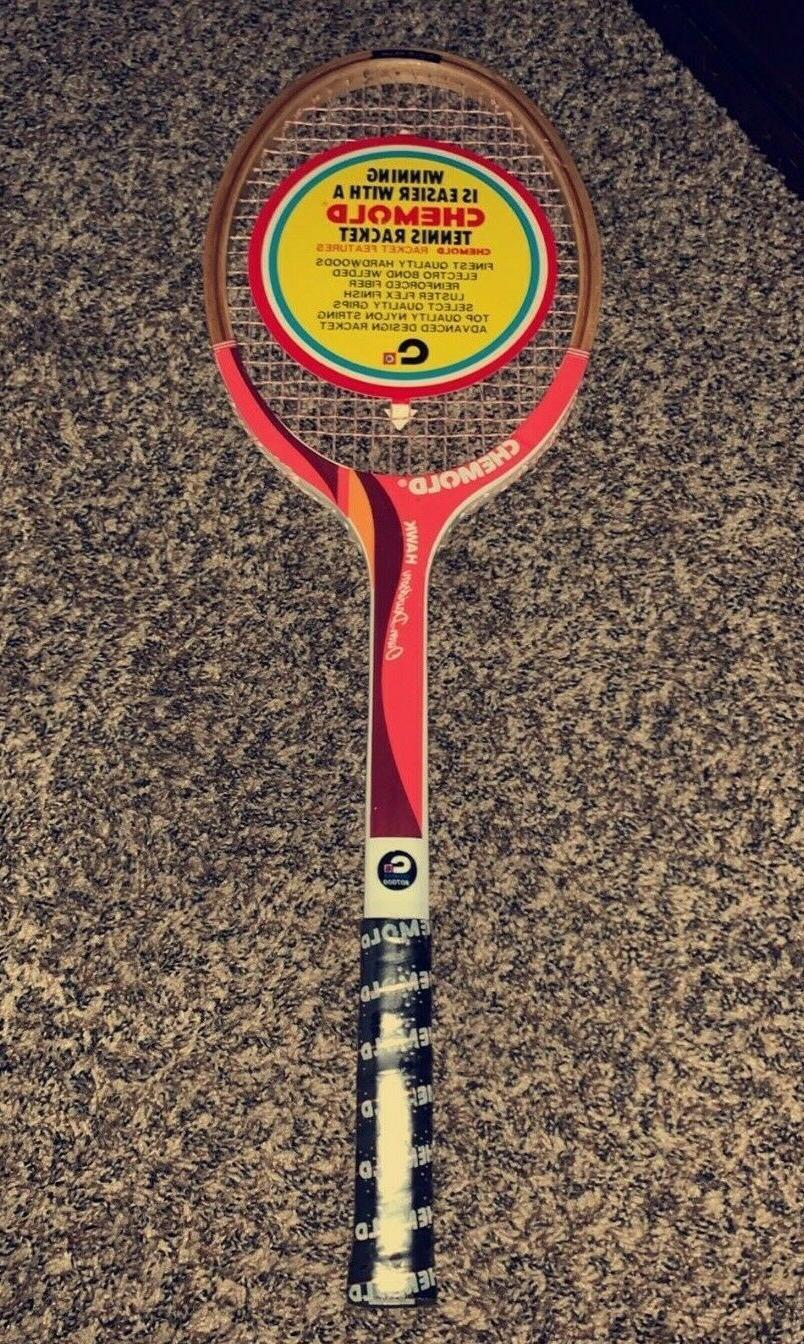 new chemold hawk wooden red tennis racket