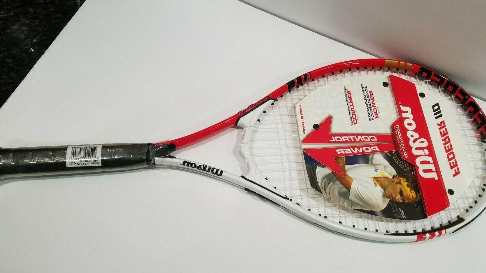 """Wilson Roger Racket White, Red Black Stop Shock 4 3/8"""" NEW"""