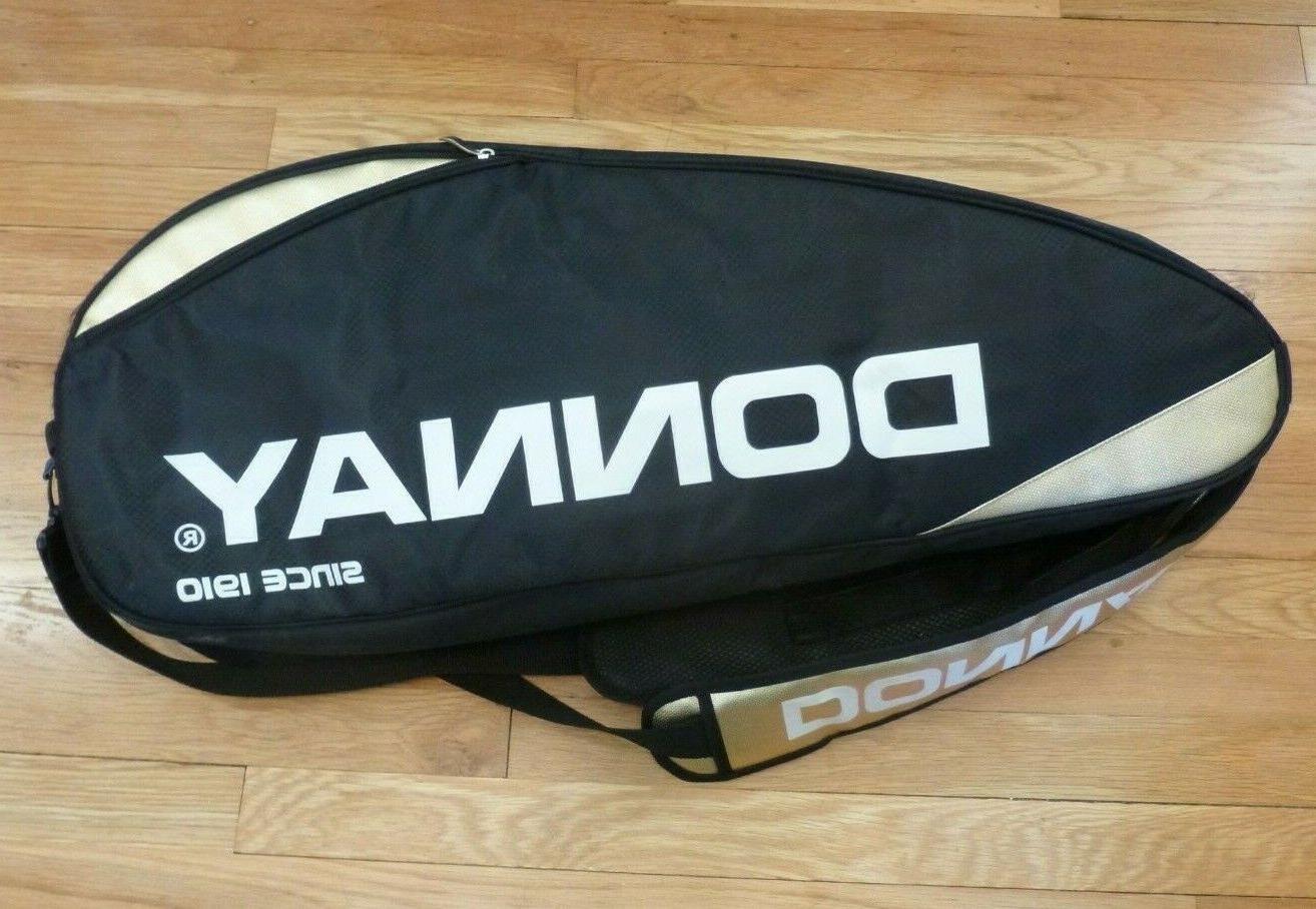tennis racket bag 2 compartments black gold