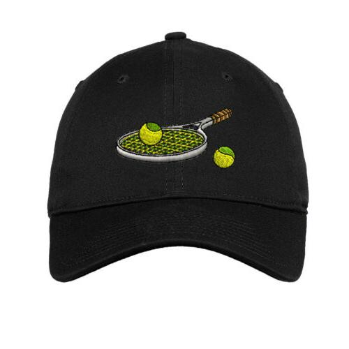 tennis racket embroidered soft low profile hat