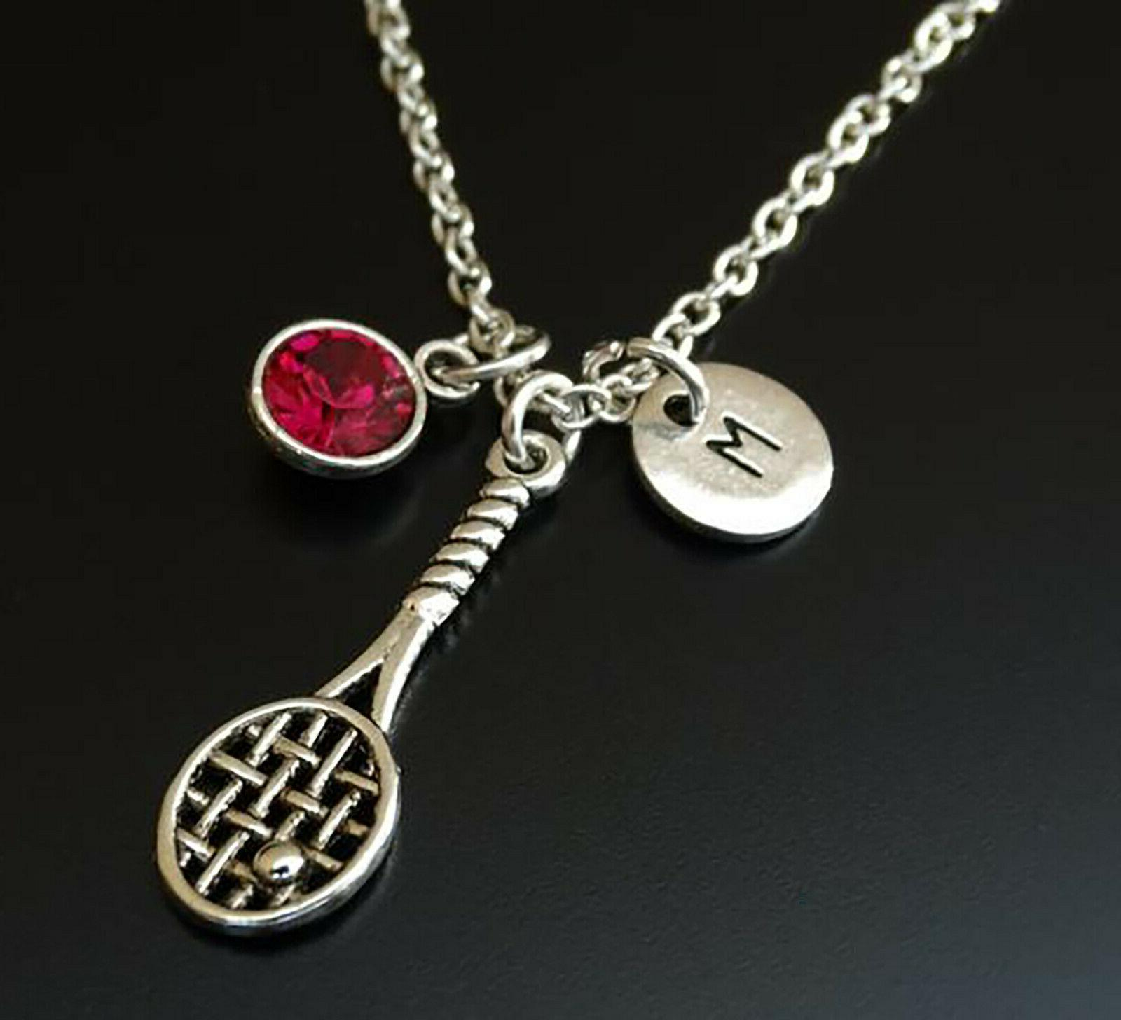 Tennis Racket Necklace Birthstone Coach Charm Personalized
