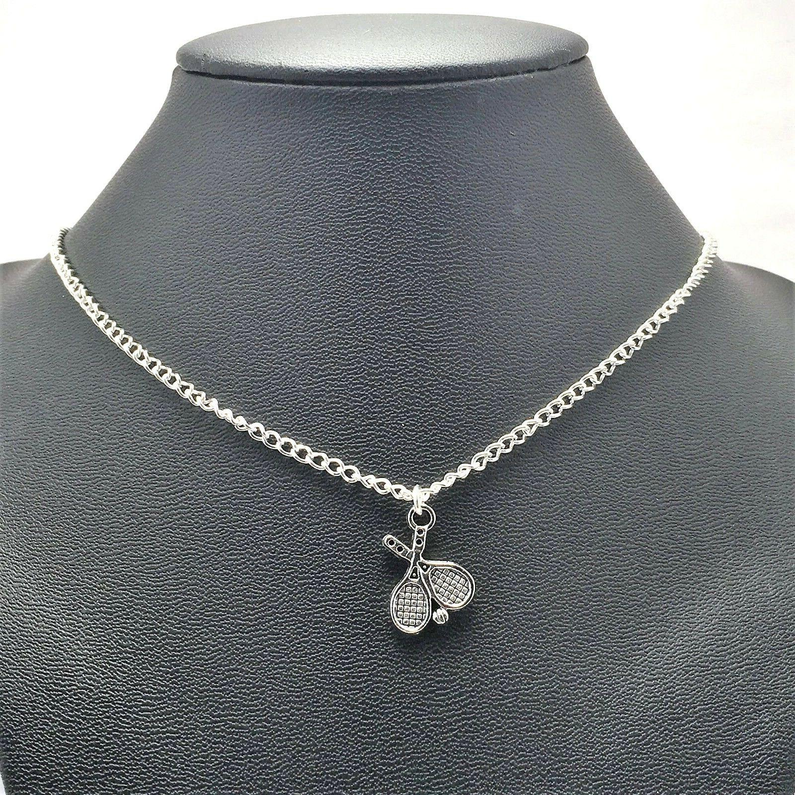 tennis racket sport necklace sterling silver plated