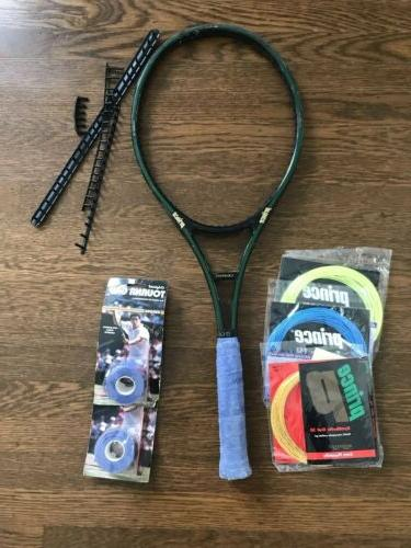 tennis racket used with new strings grip