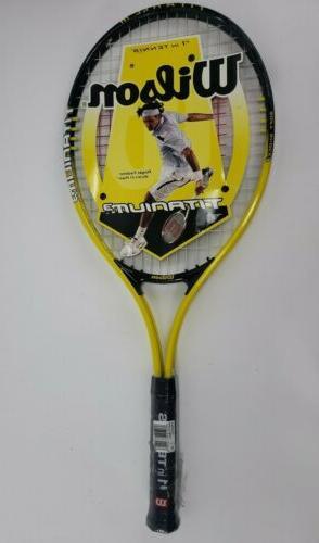 tennis racket yellow black titanium3 string tension
