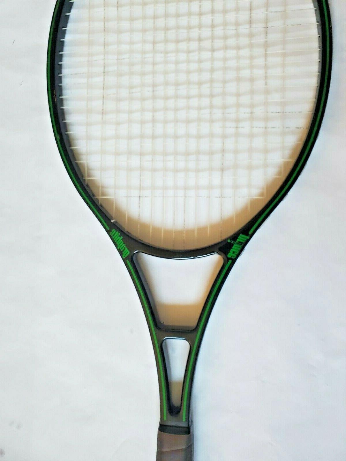 "Vtg Prince Oversize Black & Green Tennis Racquet 4 3/8"""