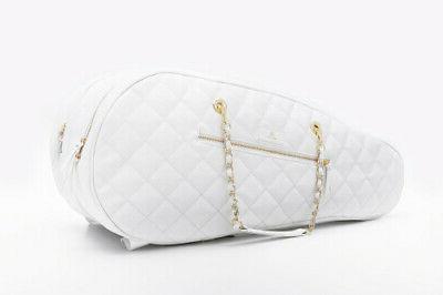 white vegan leather 6 racket luxury tennis