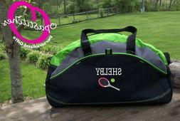 Monogrammed  sports duffel bag, Tennis racket, ball, embroid