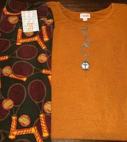 NEW LuLaRoe Outfit:Large Rust Irma Tunic/TC Dark Green Tenni