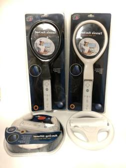 OEM & iConcepts Wii Sports Tennis Rackets And Steering Wheel