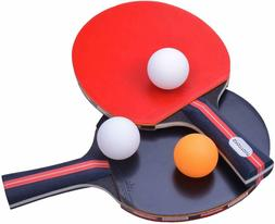 Sportout Table Tennis Racket Paddle Set with 2 Bats and 3 Pi