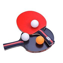 Table Tennis Racket Ping Pong Paddle Set with 2 Bats and 3 P
