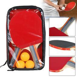 Table Tennis Racket Set Ping Pong Paddle Bat + 3 Balls + Bag