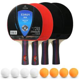 Table Tennis Set of 4, Ping Pong Racket Set with 4 Bats/Padd