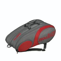 Wilson Team 12 Pack Tennis Bag Gunmetal and Red