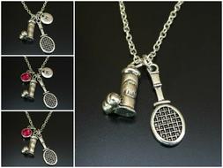 Tennis Racket Ball Necklace Initial Birthstone Team Women Ch