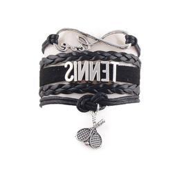 Tennis Racket Bracelet Sport Hobby Mens Womens Charm Jewelry