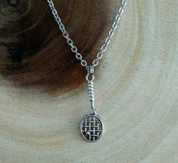 Tennis Racket Instructor Player Charm Silver Stainless Steel