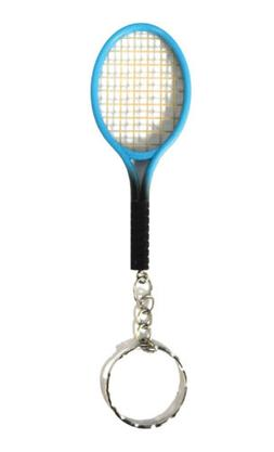 Tennis Racket Keyring Novelty Blue Colour Sport Keychain