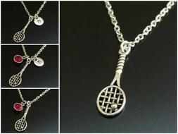 tennis racket necklace initial birthstone team coach