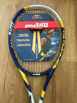 "Wilson US Open BLUE/YELLOW/WHITE 103"" MID SIZE TENNIS Racket"