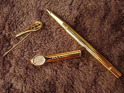 vintage new Lalex pen ball point & pin badge with miniature