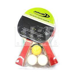 Weston 3 Star 2 Player Racket With Net and Posts 3 Balls Tab