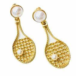 women gold color dangle hoop earrings tennis